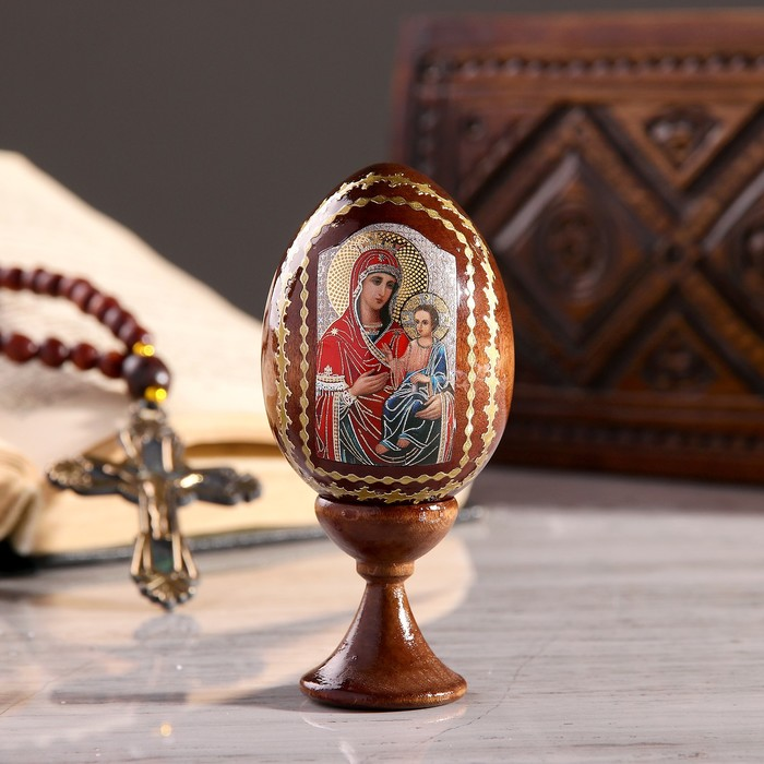 """Сувенир Яйцо на подставке икона """"Божья Матерь Иверская"""""""
