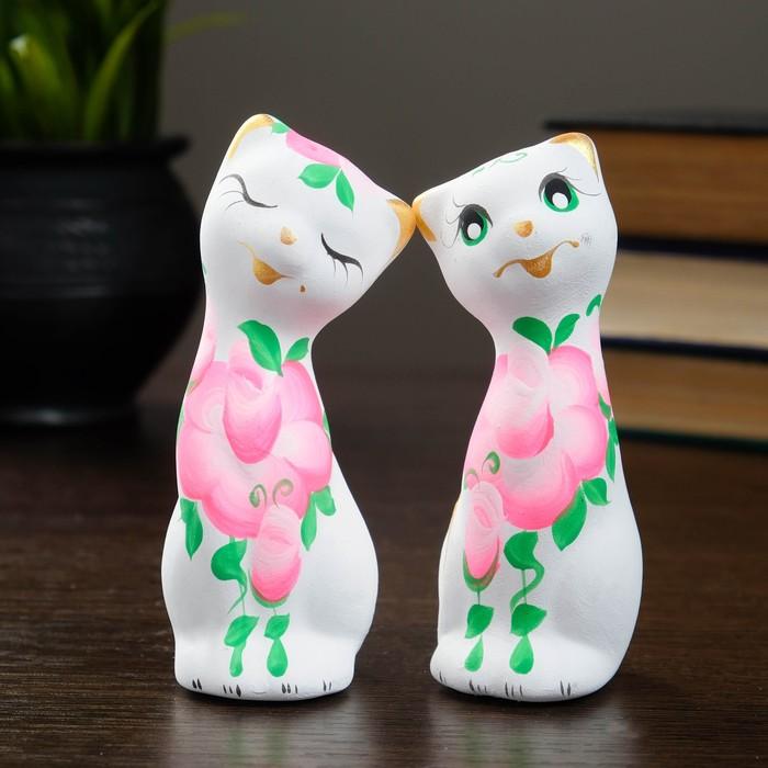 """Фигура """"Love Коты"""" с розами белые (набор 2шт) 4 × 4 × 11 см 141"""