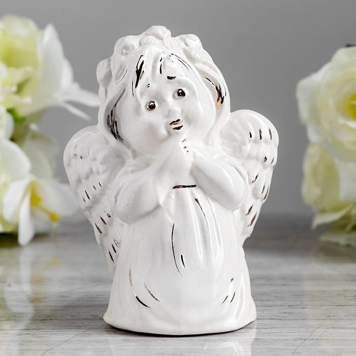 """Статуэтка """"Ангел девочка"""", глянец белый, золото, 12 см"""