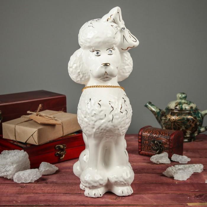 """Фигура садовая """"Собака Пудель с ошейником"""", глянец, белый"""