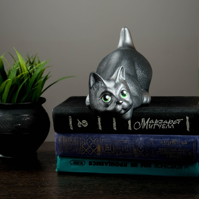 """Фигура """"Кот Нырок"""" чёрный с серебр подпалом 10 × 9 × 18 см"""