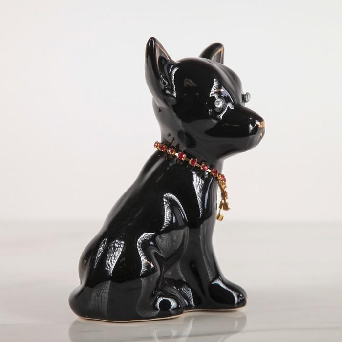 """Фигура садовая """"Собака Чихуахуа с ошейником"""", глянец, чёрный"""