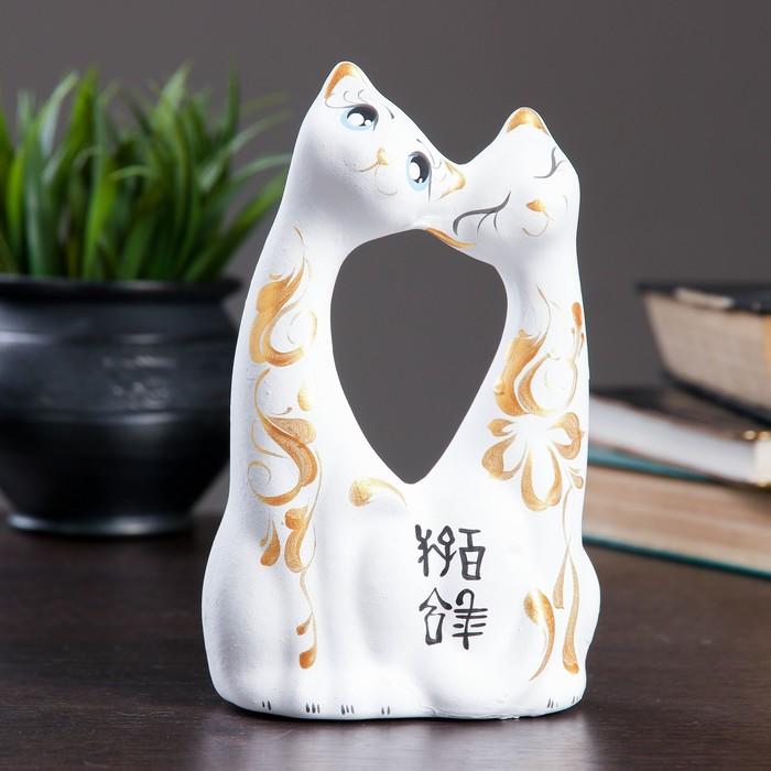 """Фигура """"Коты влюбленные"""" большие белые 6 × 11 × 17 см 038"""