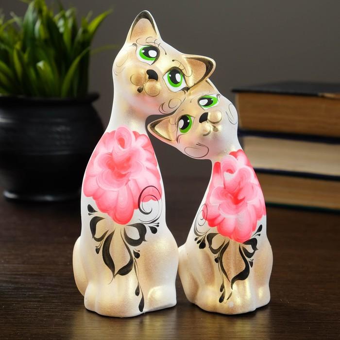 """Фигура """"Love Коты"""" ушастые 7 × 13 × 17 см бел/золото (набор 2 шт) 215"""