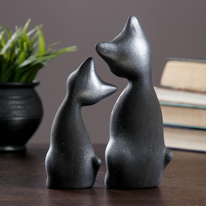 """Фигура """"Love Коты"""" ушастые 6 × 7 × 17 см черные серебро (набор 2 шт) 215"""
