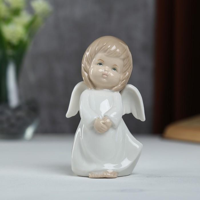 """Сувенир керамика """"Ангел-пухлячок в белом платье"""" 13х5,5х7 см"""