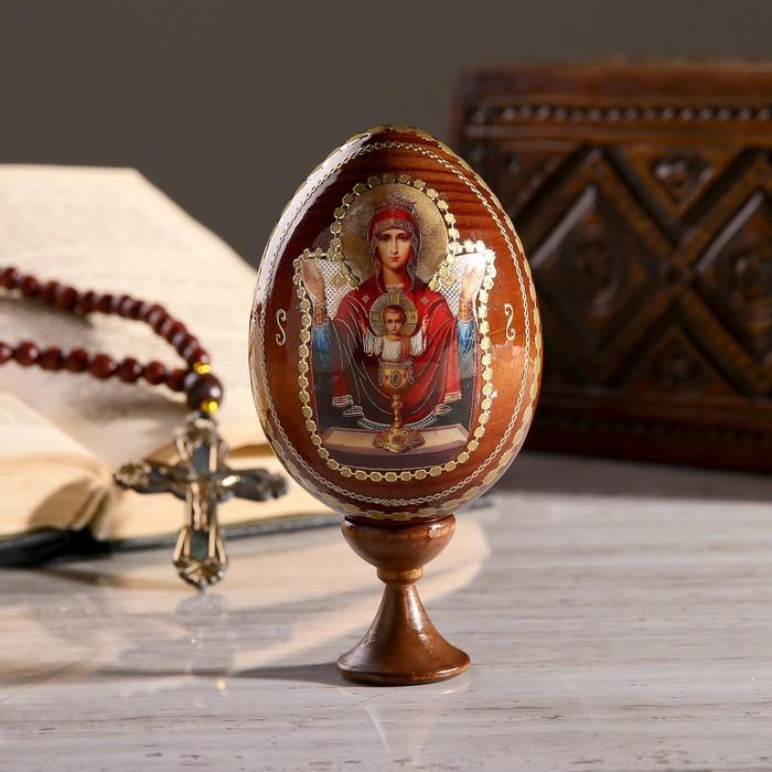 """Сувенир Яйцо на подставке икона """"Божья Матерь Неупиваемая чаша"""""""