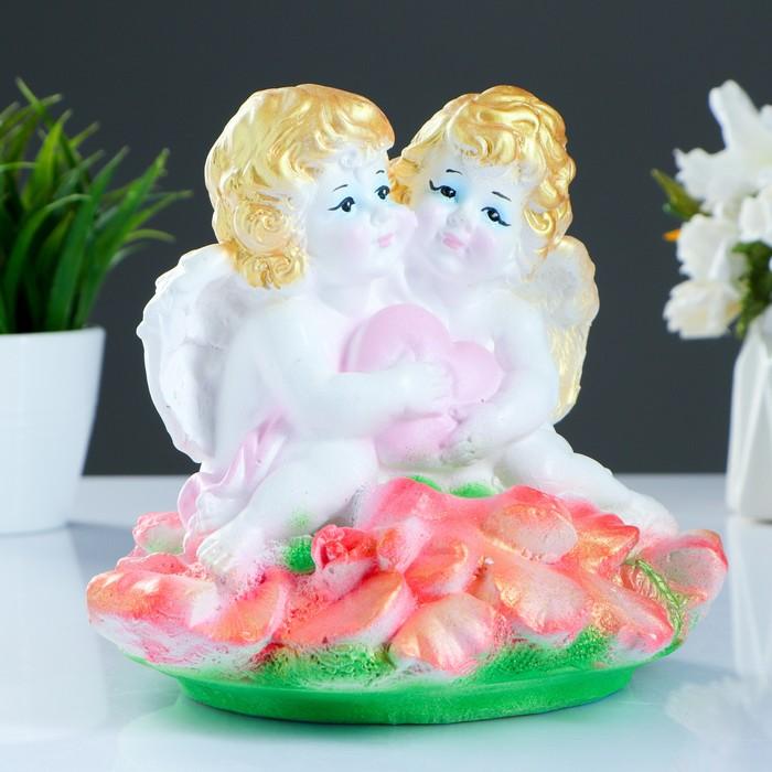 "Фигура ""Ангелочки сердце с орхидеями""  17х20 см"