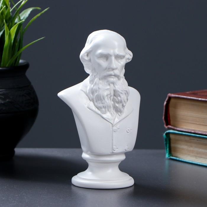 Бюст Толстой / белый,  5.5× 8× 14 см