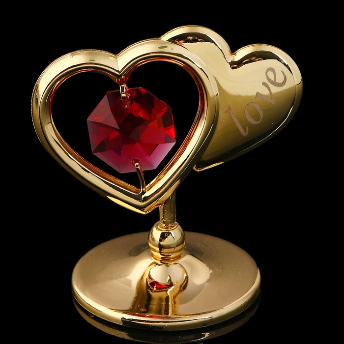 Сувенир «Два сердца», 4,5×4,5×3 см, с кристаллами Сваровски