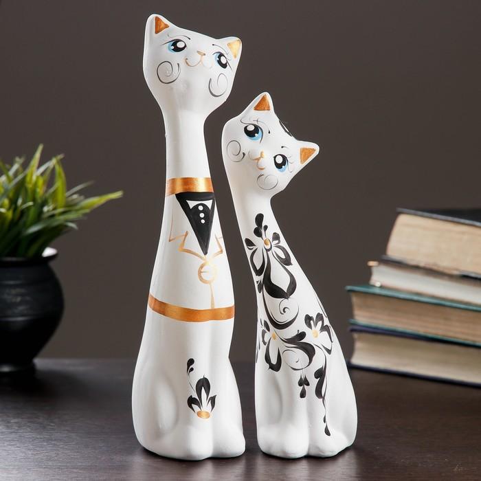"""Фигура """"Love Коты"""" большие набор 2шт белые 7 × 9 × 29 см 039"""