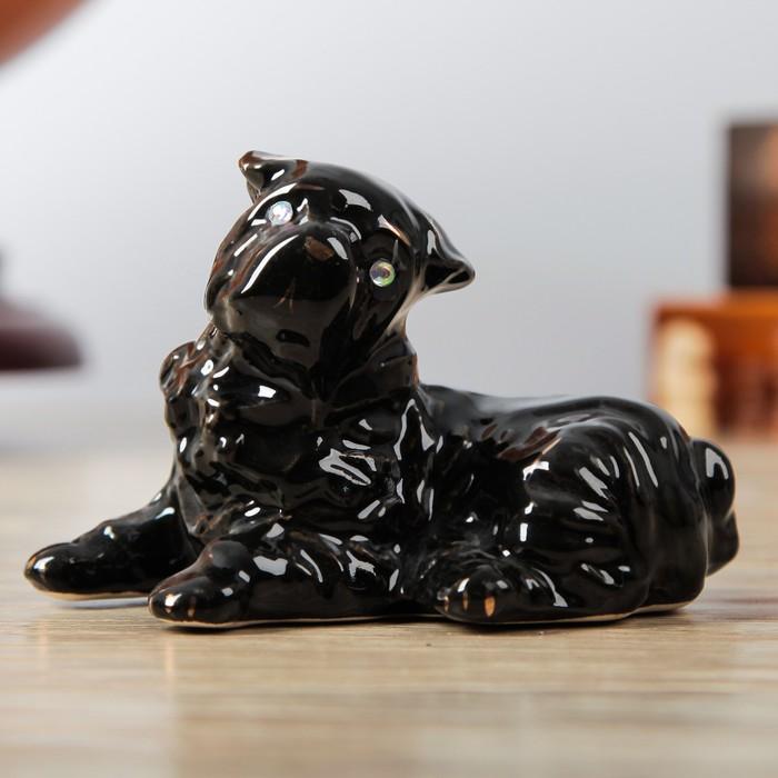 """Статуэтка """"Собака Шарпей"""", чёрный глянец, 8 см"""