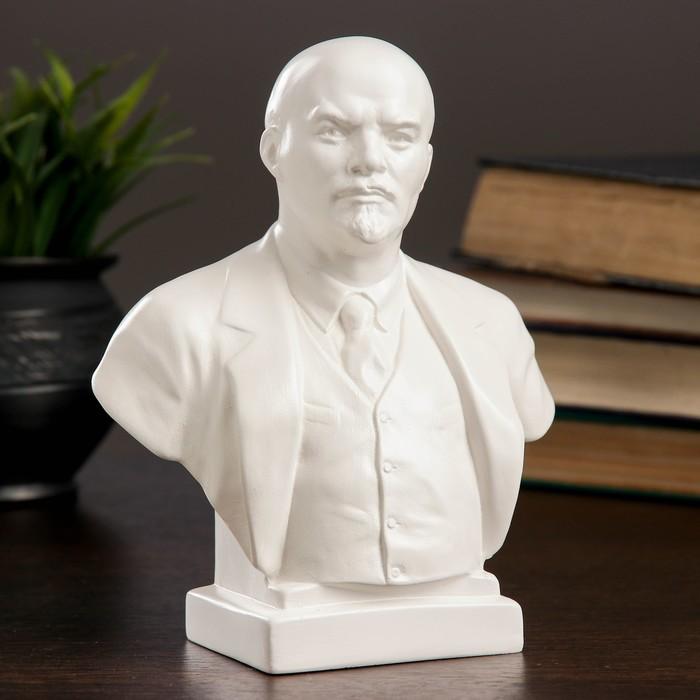 Бюст Ленин большой белый, 8х14х17 см