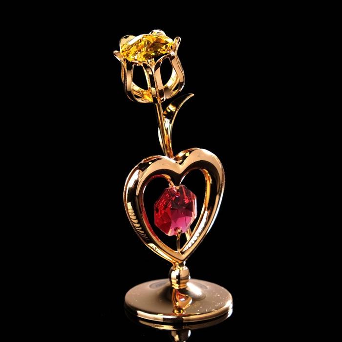 Сувенир «Тюльпан с солнцем», 3×3×8 см, с кристаллами Сваровски