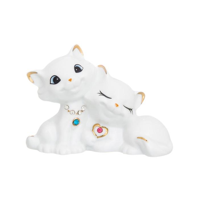 Фигурка декоративная «Влюбленные кошечки стразы», цвет бело-золотистый