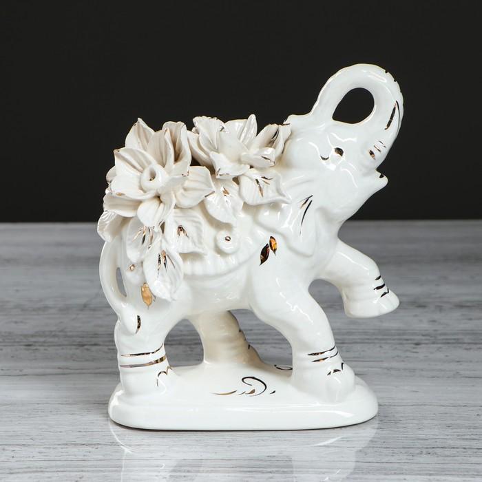 """Сувенир -статуэтка """"Слон Индийский"""" белая лепка, микс"""