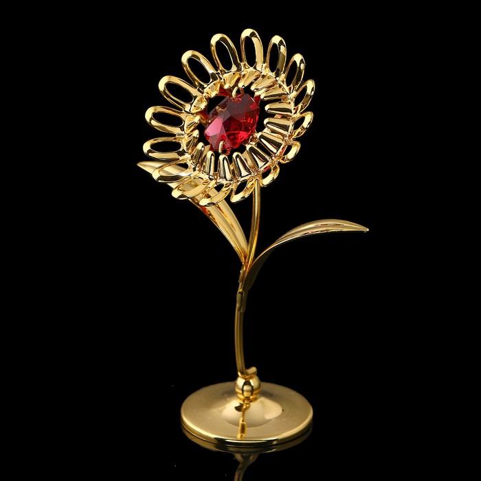 Сувенир «Подсолнух», 3×6,5×9,5 см, с кристаллами Сваровски