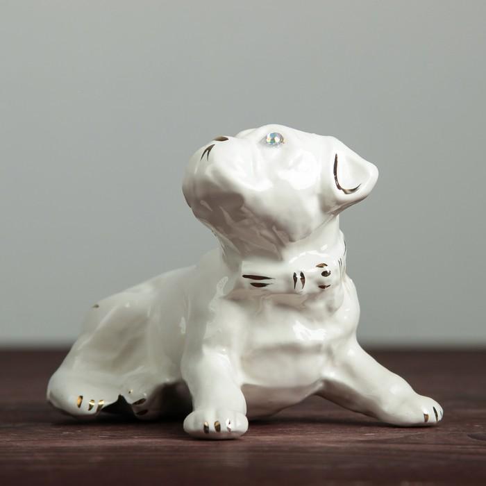 "Фигура садовая ""Собака Бульдог"" белый"