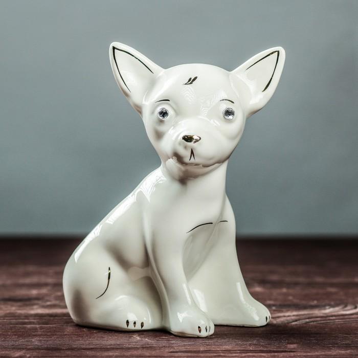 "Фигура садовая ""Собака Чихуахуа"", белый"