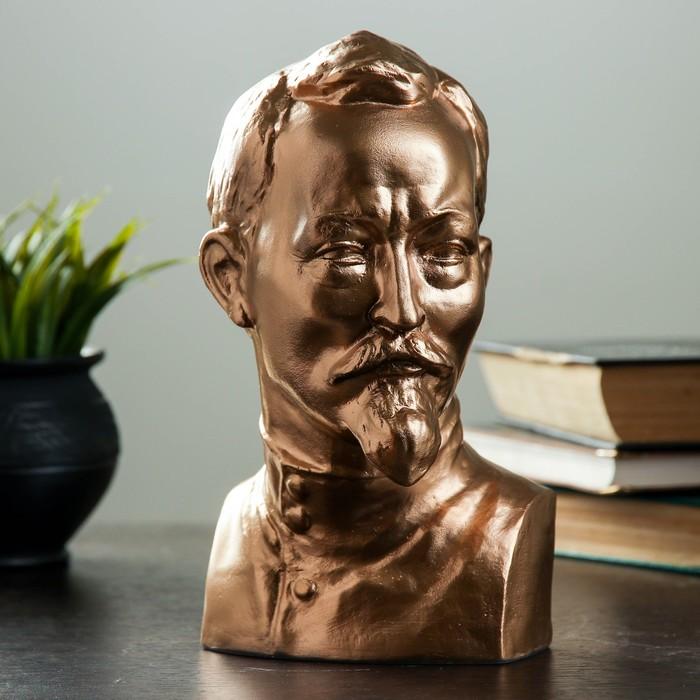 Бюст Дзержинский большой бронза,золото 23 см