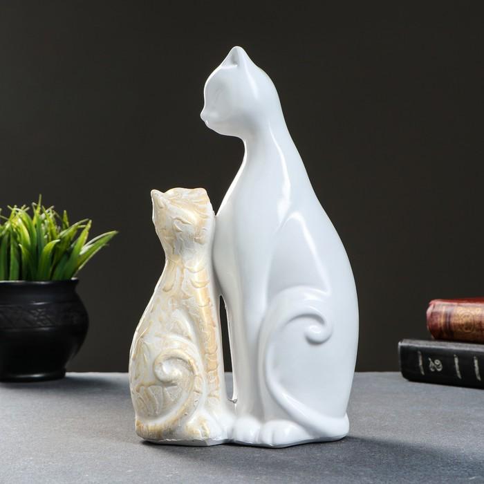 """Фигура """"Кошка с котенком"""" белый с золотом, 26х15см в ..."""