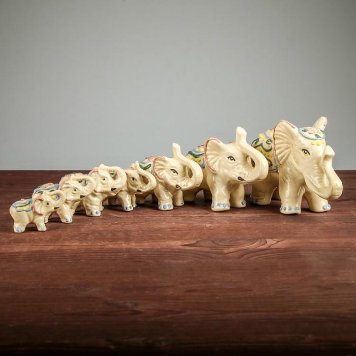 """Набор сувениров """"Слоны"""" (7 предметов), лепка, цветные"""