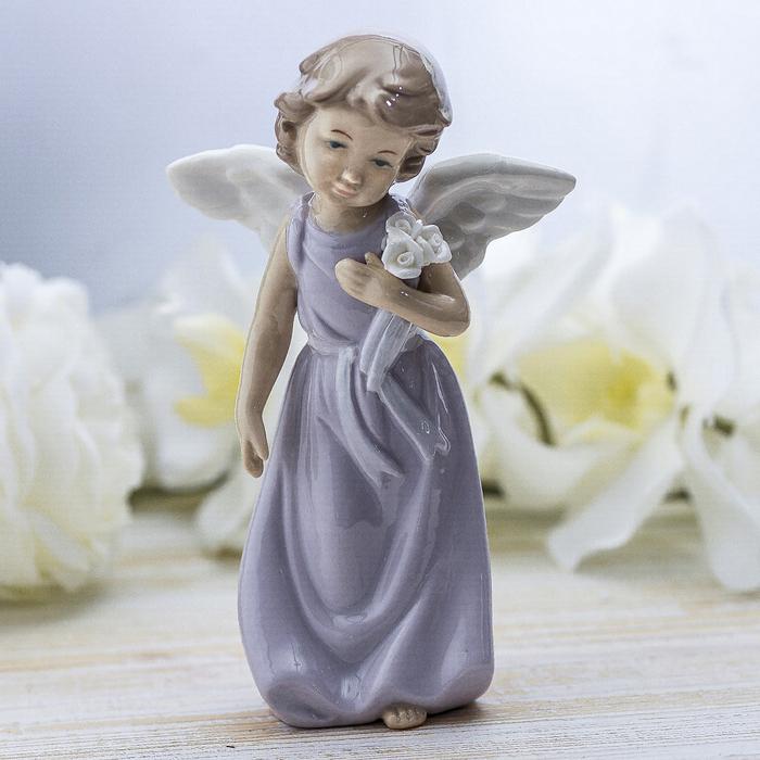 """Сувенир """"Ангел в сиреневом платье с цветами"""" лак 18,5х11х5,5 см"""