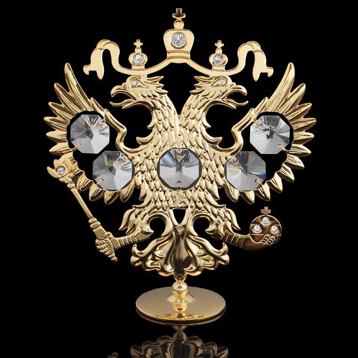 Сувенир «Герб России», 9,5×3×11 см, с кристаллами Сваровски