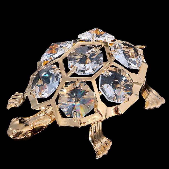 Сувенир «Черепаха», 5,5×7,2×2 см, с кристаллами Сваровски