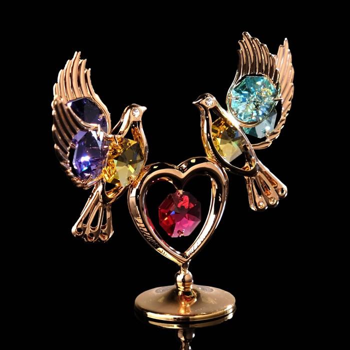 Сувенир «Лебеди на сердце», 3×9,5×8 см, с кристаллами Сваровски