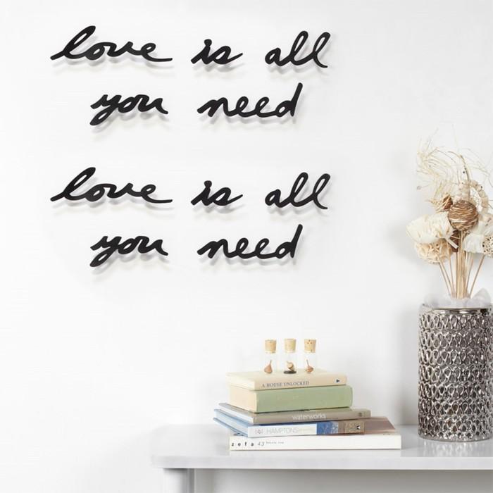 Надпись декоративная Love is all you need, настенная, чёрная