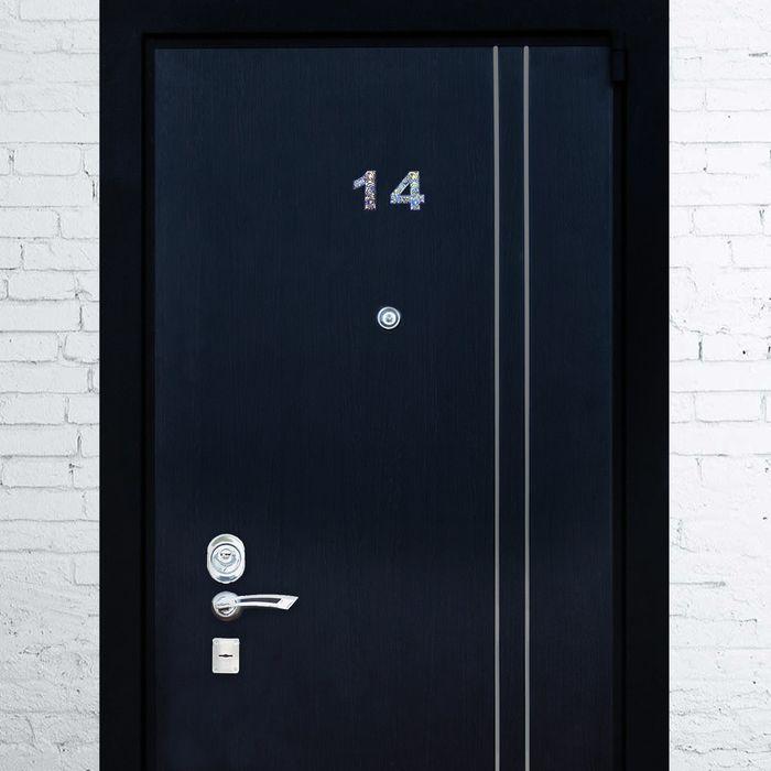 """Дверная цифра """"4"""", синий фон, тиснение золотом"""