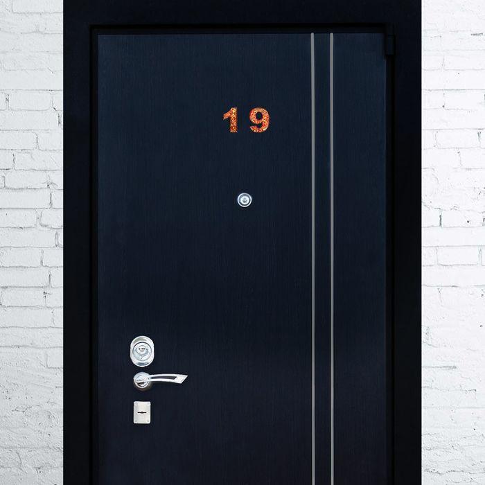 """Дверная цифра """"9"""", красный фон, тиснение золотом"""