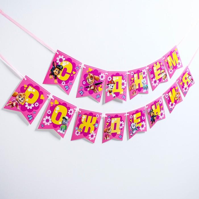 """Гирлянда на ленте """"С Днем рождения!"""", Скай, Щенячий патруль, дл. 215 см"""