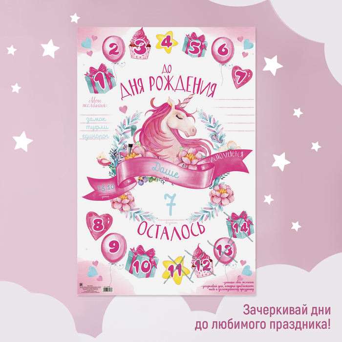 """Плакат Единорог """"Ожидание дня рождения"""""""