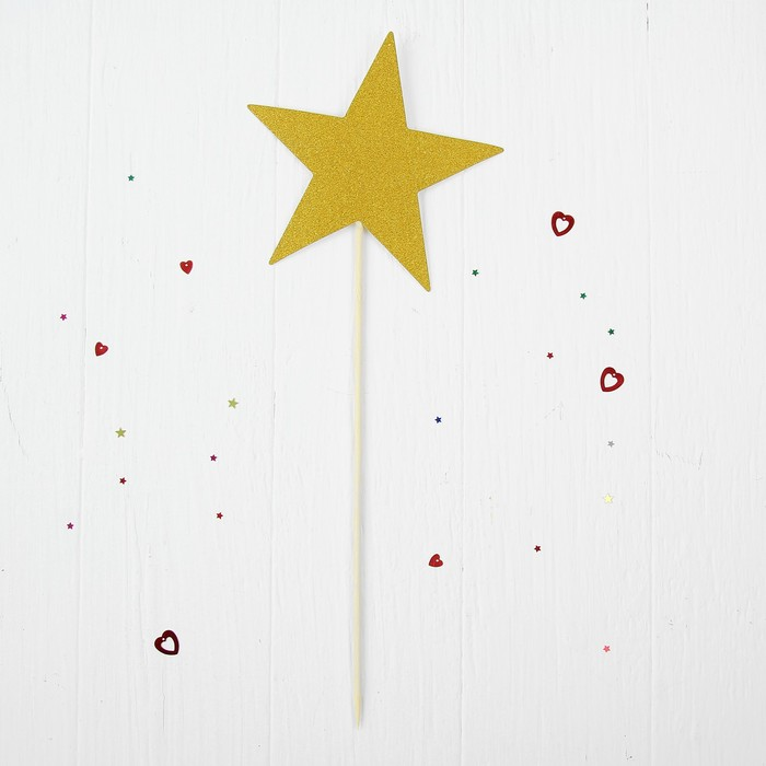 Декор-украшение для букета «Звезда», цвет золотой
