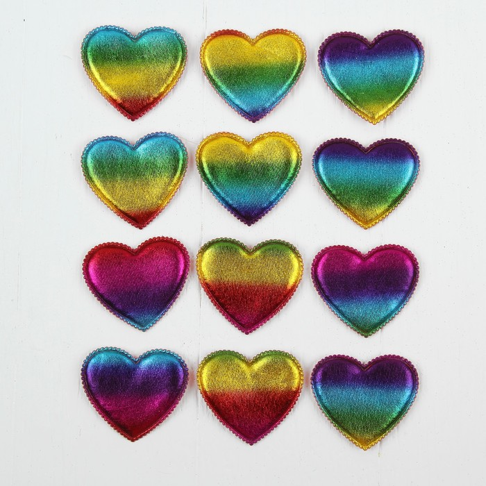 Сердечки декоративные, набор 12 шт, размер 1 шт 6*5 см, цвета МИКС