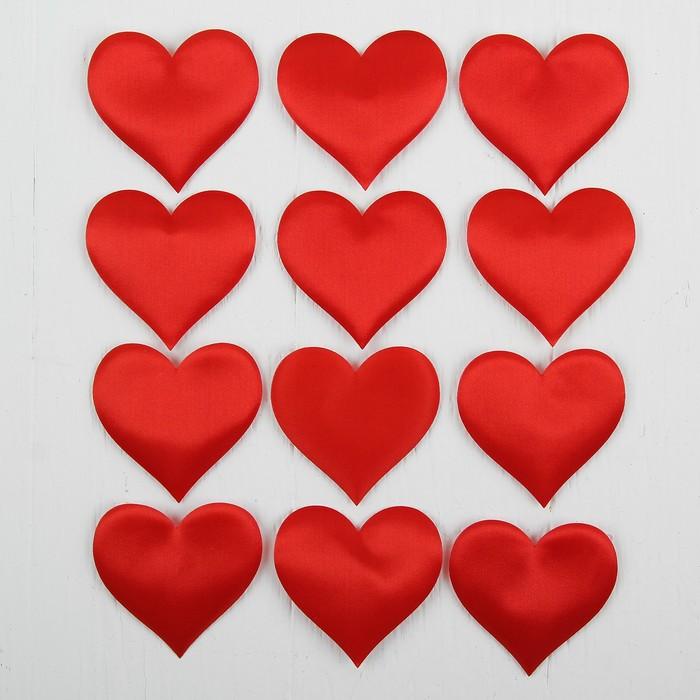 Сердечки декоративные, набор 12  шт, размер 1 шт 6,5*5 см, цвет красный