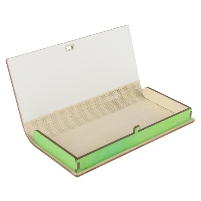 """Конверт деревянный """"С Днём Рождения!"""" золотой, зеленый узор, 17 х 8,5 х 2 см"""