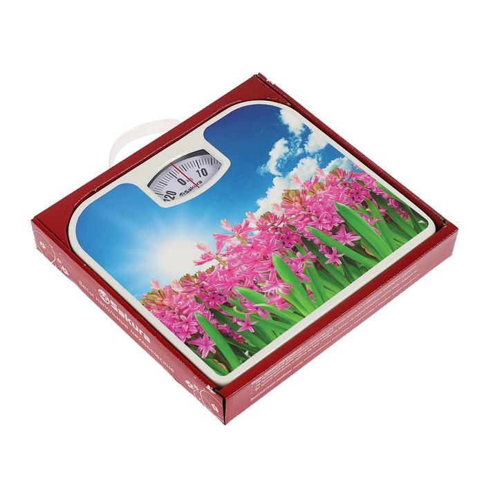 """Весы напольные Sakura SA-5000-7, механические, до 130 кг, рисунок """"гиацинты"""""""