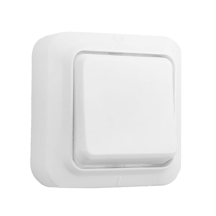 Выключатель одноклавишный наружный, белый