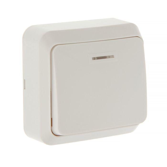 """Выключатель Smartbuy """"Юпитер"""", 10 А, 1 клавиша, наружный, с индикатором, белый"""