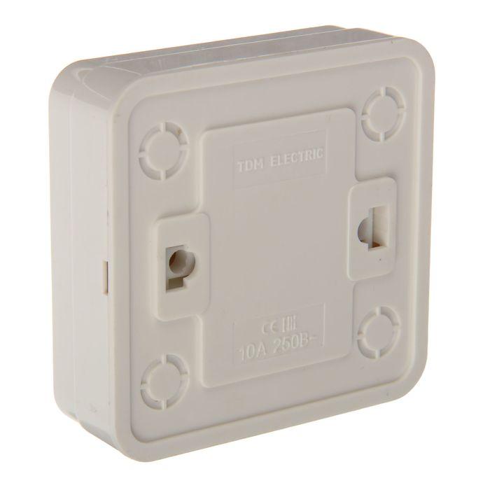 """Выключатель TDM """"Ладога"""", 10 А, IP20, 1 клавиша,  накладной, с подсветкой, белый"""