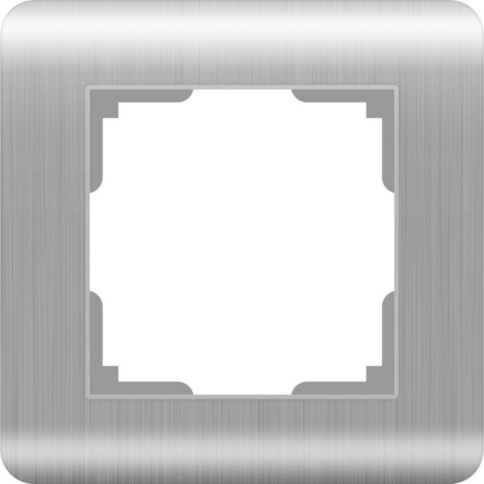 Рамка на 1 пост  WL12-Frame-01, цвет серебряный