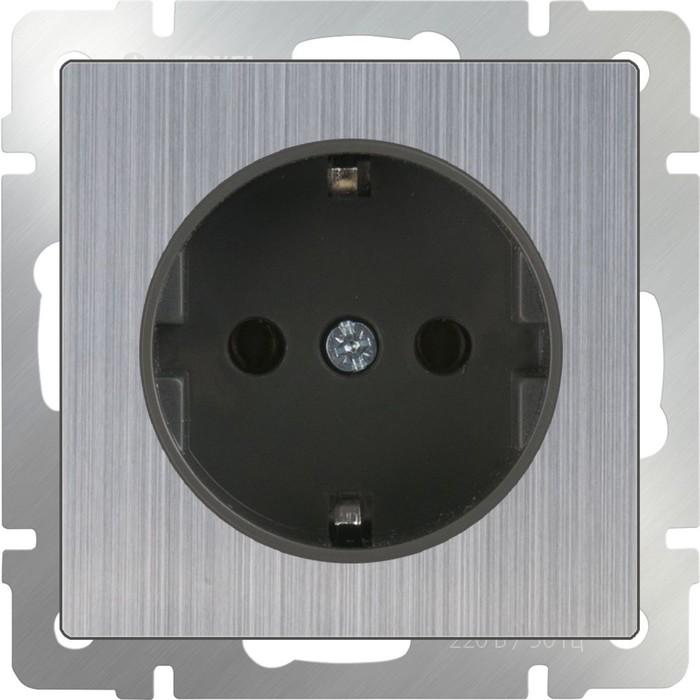 Розетка с заземлением  WL02-SKG-01-IP20, цвет никель