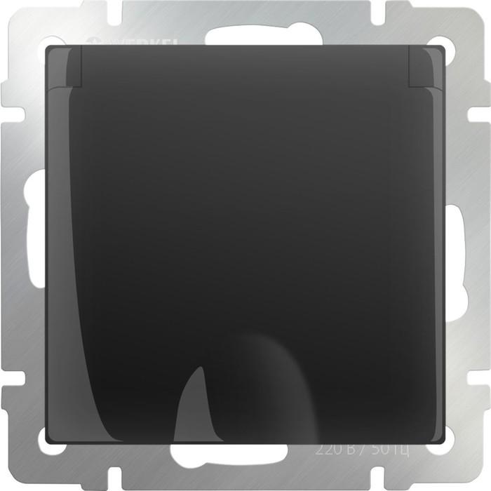 Розетка влагозащ. с зазем. с защит. крышкой и шторками  WL08-SKGSC-01-IP44, цвет черный