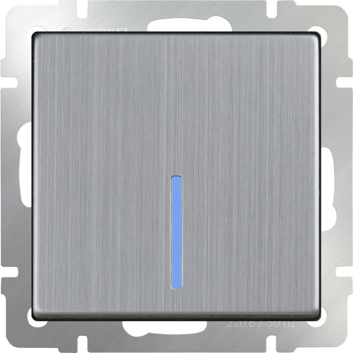 Выключатель одноклавишный проходной с подсветкой  WL02-SW-1G-2W-LED, цвет никель