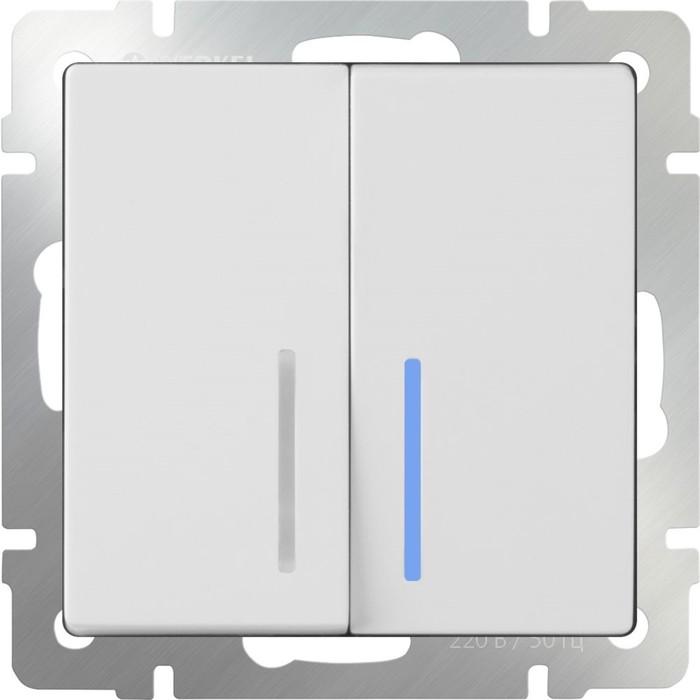 Выключатель двухклавишный с подсветкой  WL01-SW-2G-LED, цвет белый