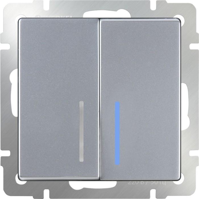 Выключатель двухклавишный с подсветкой  WL06-SW-2G-LED, цвет серебряный