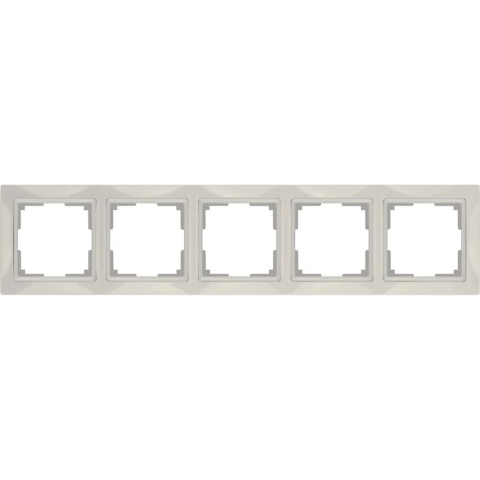 Рамка на 5 постов  WL03-Frame-05, цвет слоновая кость